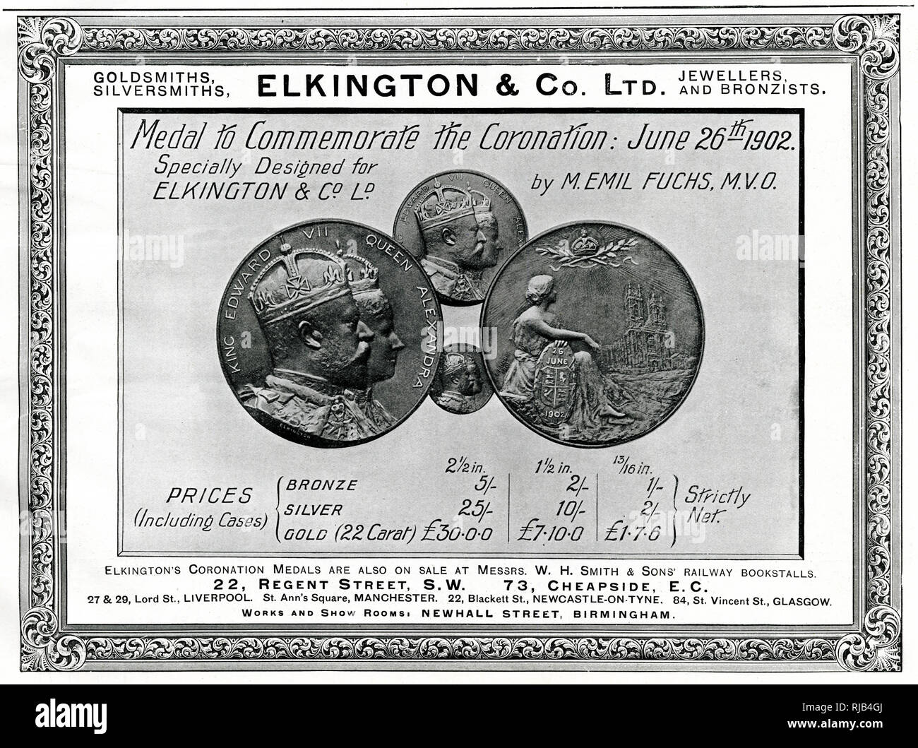 Advertisement for a selection of medals and coins in bronze, silver and gold, for the coronation of King Edward VII and Queen Alexandra on the 26th June 1902. Unfortunately two days before the due date, Edward became seriously ill with appendicitis and underwent an emergency operation, he recovered and the new date was made for 9th August 1902. Stock Photo