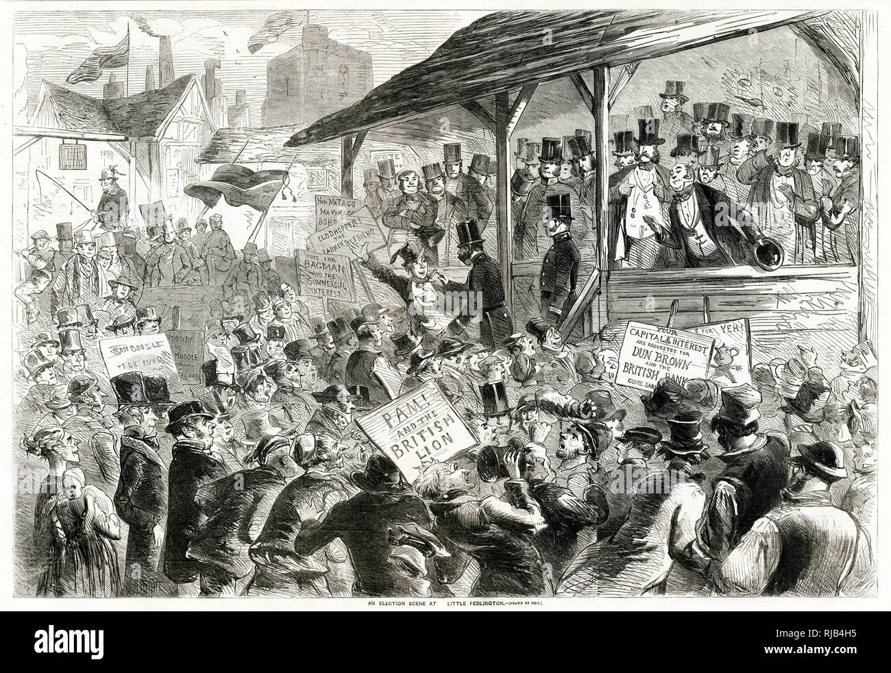 Election scene. Taking place between 27 March – 24 April 1857, led by Lord Palmerston, finally won a majority in the House of Commons as the Conservative vote fell significantly. Stock Photo