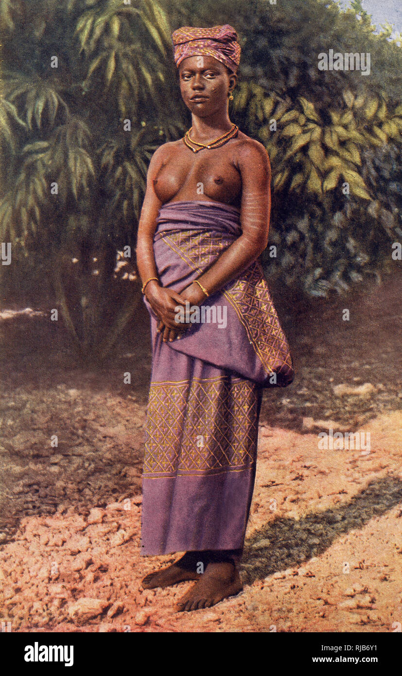 Woman of Accra, Ghana (then part of the British Empire), West Africa. Stock Photo