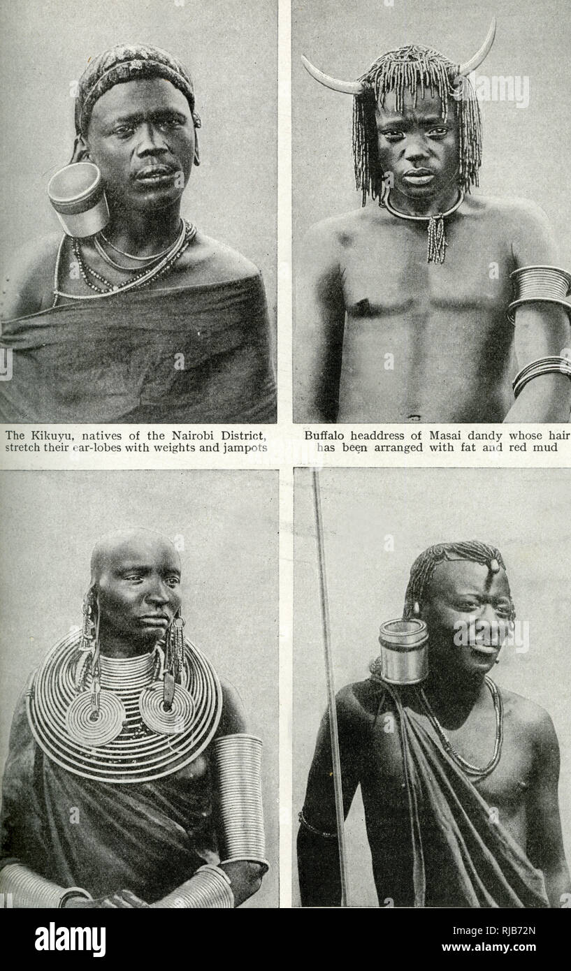 Native fashions of Kenya (then a British colony), East Africa -- a Kikuyu man of the Nairobi district (top left) with a stretched earlobe; a Masai man (top right) with buffalo headdress and plaited hair; a Masai woman (bottom left) with heavy rings on her earlobes and round her neck, and bangles on her arms; and a Kikuyu warrior (bottom right) with a stretched earlobe. Stock Photo