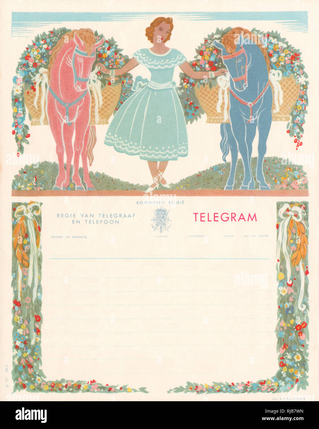 Decorative Belgian Telegram Form with a stylised illustration of a woman holding the bridles of two horses bearing baskets overflowing with flowers. - Stock Image