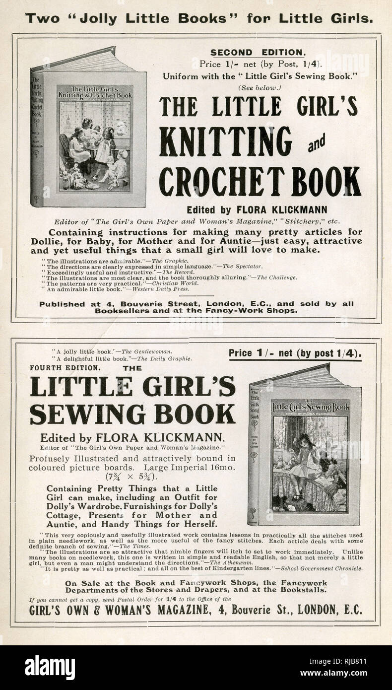 """Black and white advert for 'Two """"Jolly Little Books"""" for Little Girls' on the inside of The Etiquette of To-day book, published by the Girl's Own Paper, circa 1914. Edited by Flora Klickmann. These books contained instructions for 'making many pretty articles for Dollie, for Baby, for Mother and for Auntie' Stock Photo"""