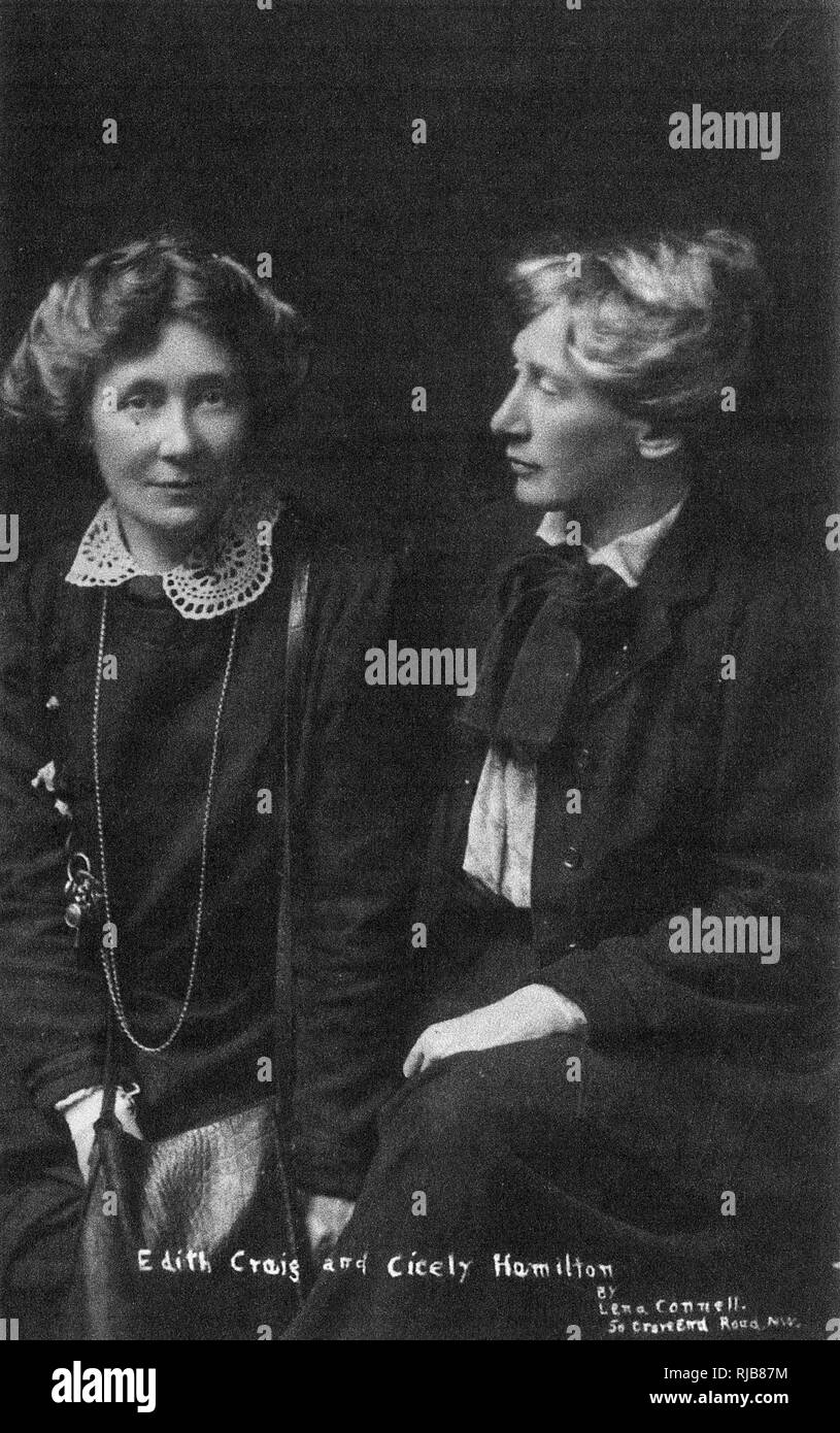 Cicely Hamilton (1872-1952) and Edith Craig (1869-1947). Edith was the daughter of the actress Ellen Terry, a theatre director, producer, costume designer and pioneer of the women's suffrage movement. Cicely was an actress, writer, journalist, suffragist and feminist; she wrote the words to the suffrage movement's campaigning hymn, The March of the Women. - Stock Image