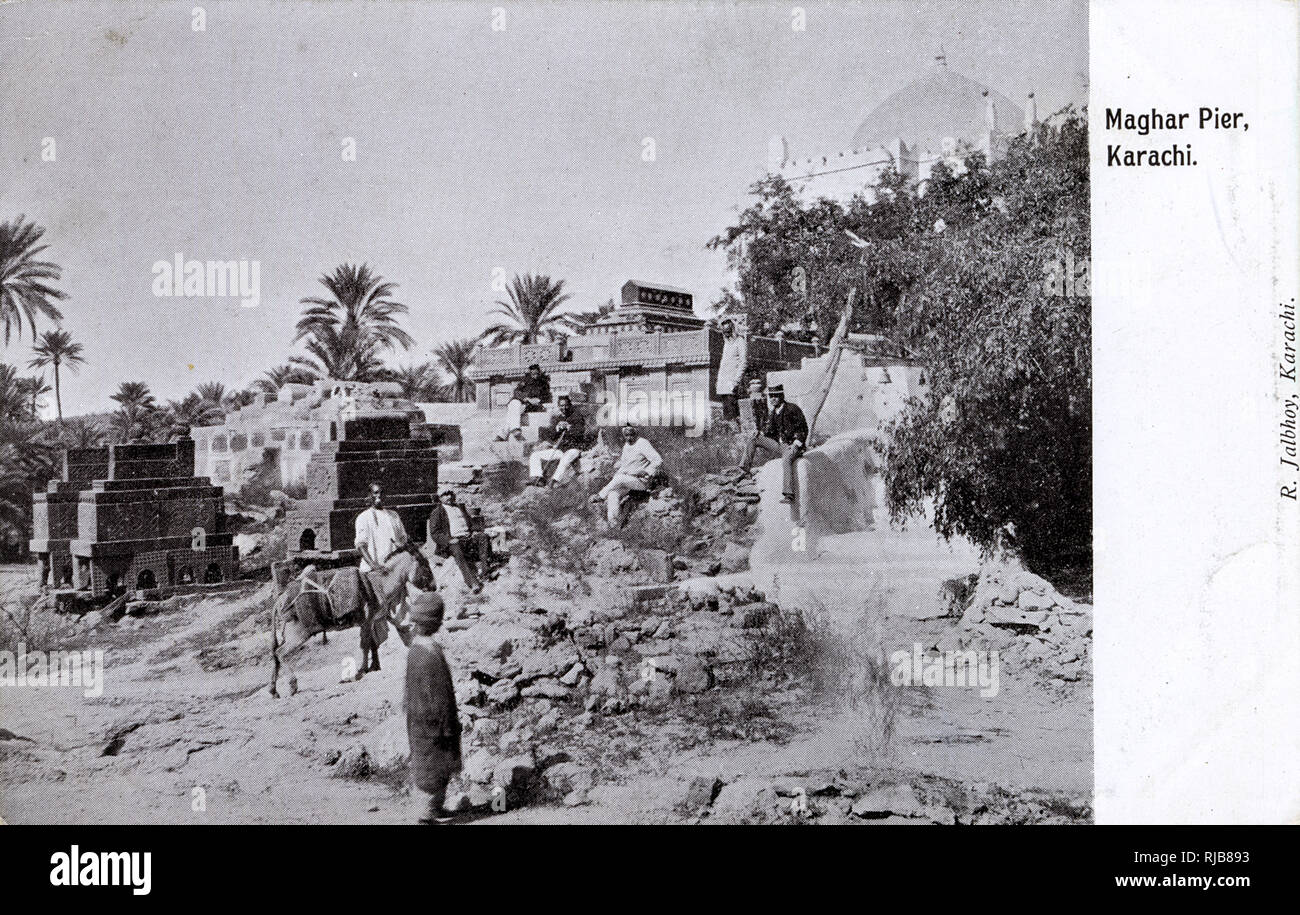 Maghar Pier and old tombs, Karachi, British India. Stock Photo