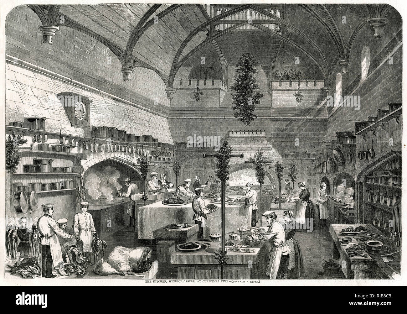 Christmas time at Windsor Castle, cooks preparing for the Royal banquet. Stock Photo