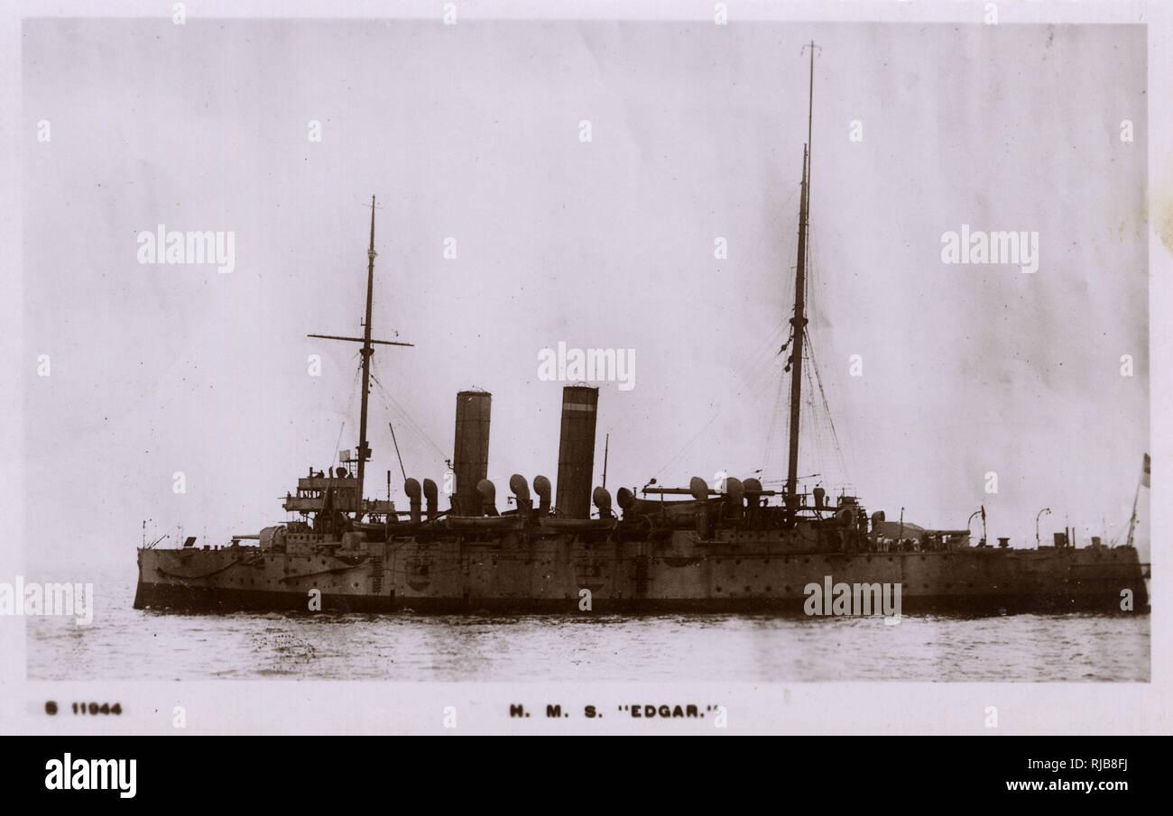 HMS Edgar, British Edgar class cruiser. Stock Photo