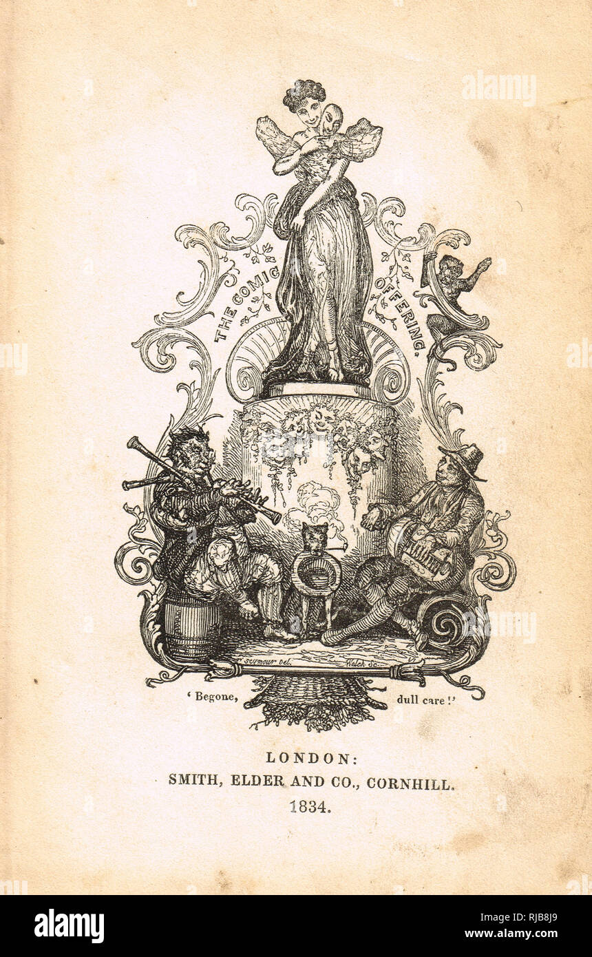 Publishers plate, from the Comic offering, or Ladies' melange of literary mirth of 1834 - Stock Image