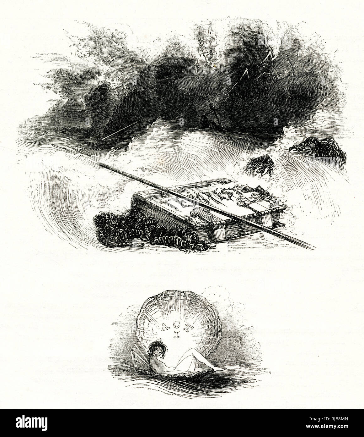 Illustration by Kenny Meadows to The Tempest, by William Shakespeare. The storm at sea, watched by Ariel. Stock Photo
