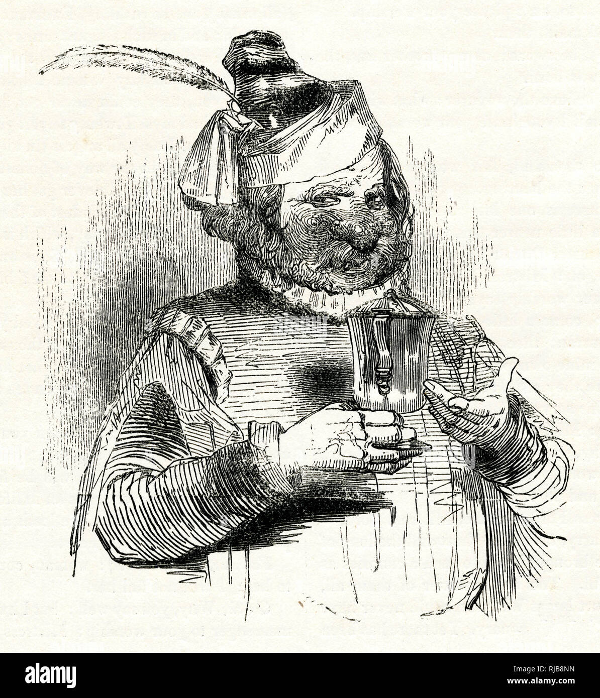 Illustration by Kenny Meadows to The Merry Wives of Windsor, by William Shakespeare. Portrait of Bardolph, one of Falstaff's friends, whose love of drinking has turned his face and nose very red. Stock Photo