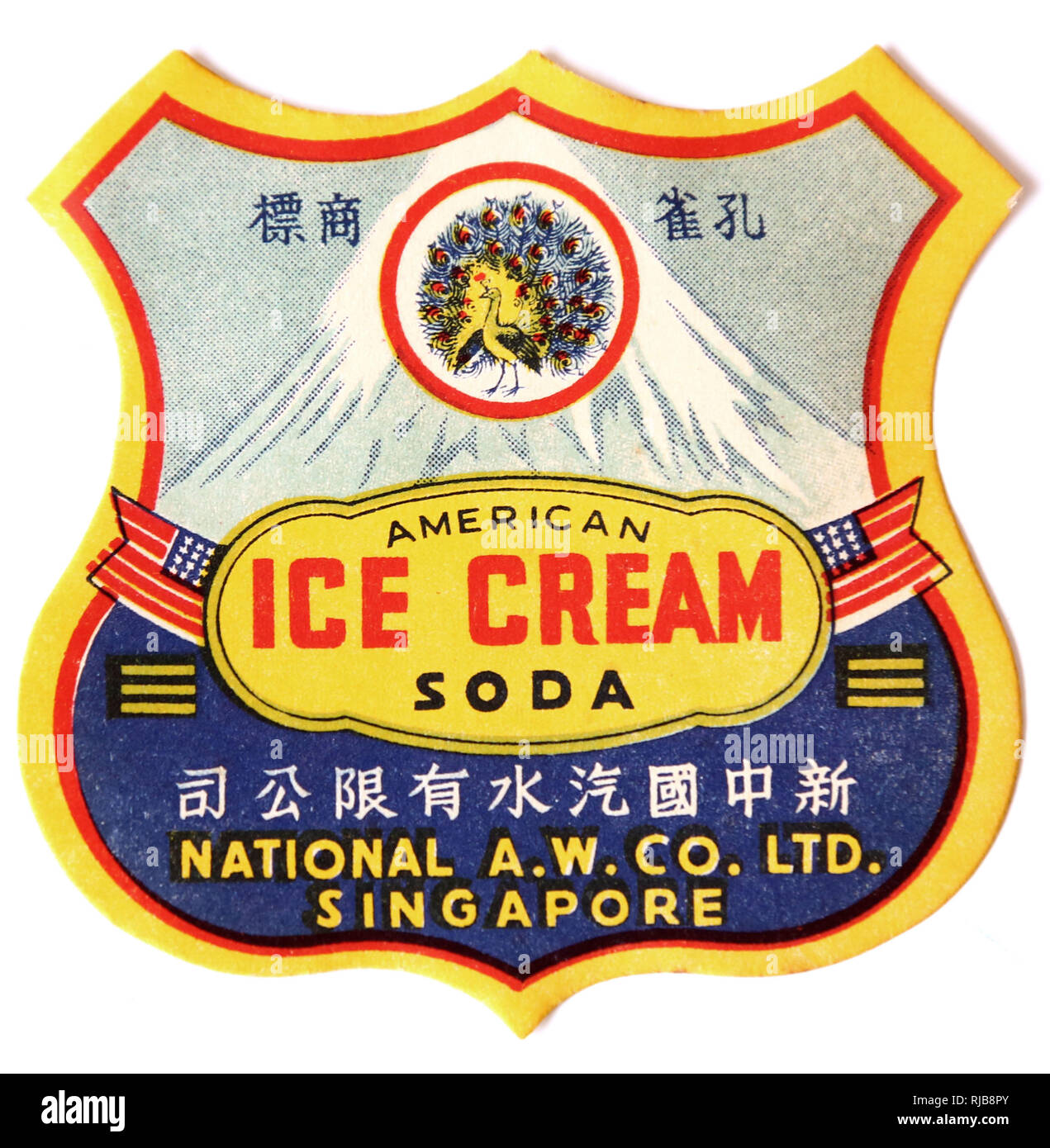 Peacock Brand Chinese Ice Cream Soda drink label from the National Aerated Water Company Ltd, Singapore. Also known as the Singapore New China Soda Drink Ltd company in the 1940s - Stock Image