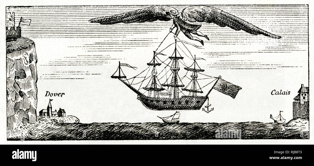 Satirical cartoon, Blanchard the balloonist flying with large wings, crossing the English Channel from Calais to Dover, carrying a ship. - Stock Image