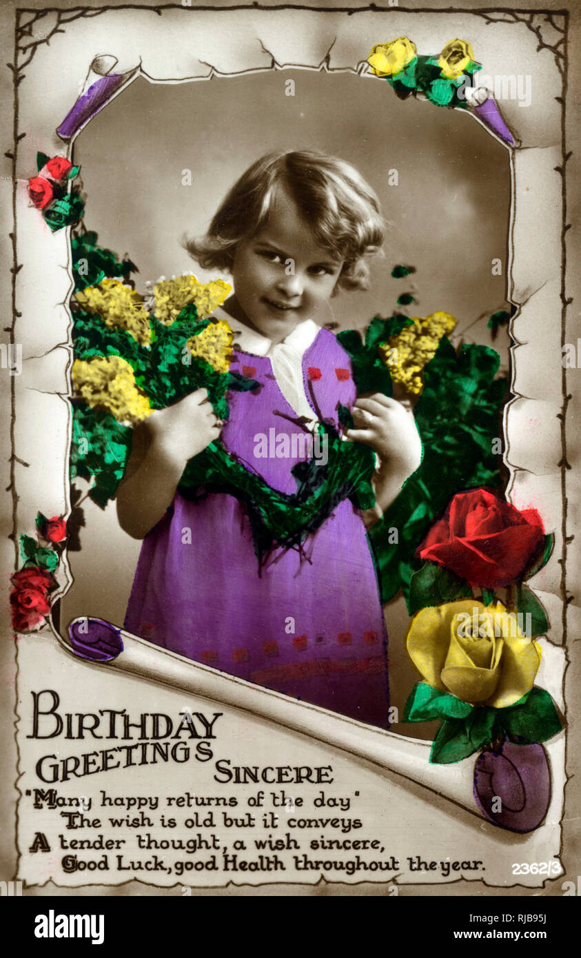 Sincere Birthday Greetings Card - hand-coloured, featuring a young girl in a purple dress surrounded by sprigs of flowers and roses. - Stock Image