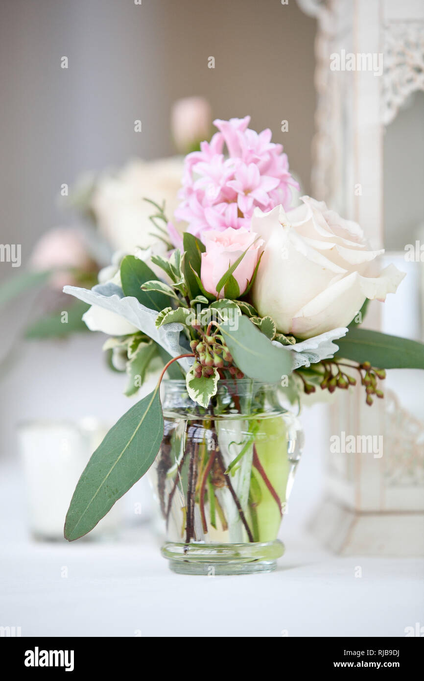 Wedding Flower Arrangement With Pink And White Flowers Wedding Table Decoration Series Stock Photo Alamy