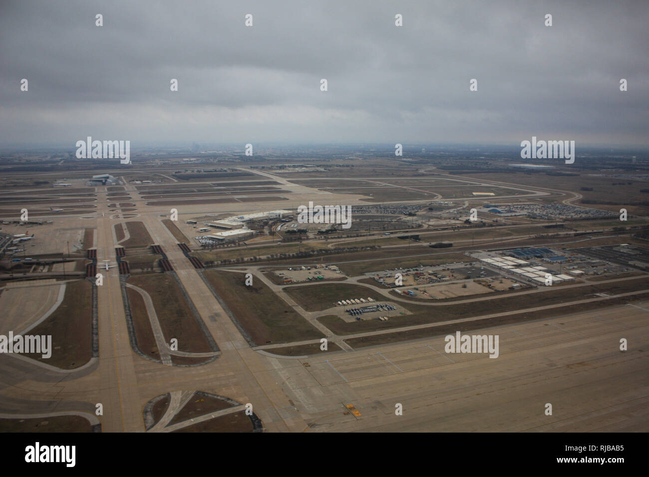 Flight from London Heathrow to Fort Worth Texas - Stock Image