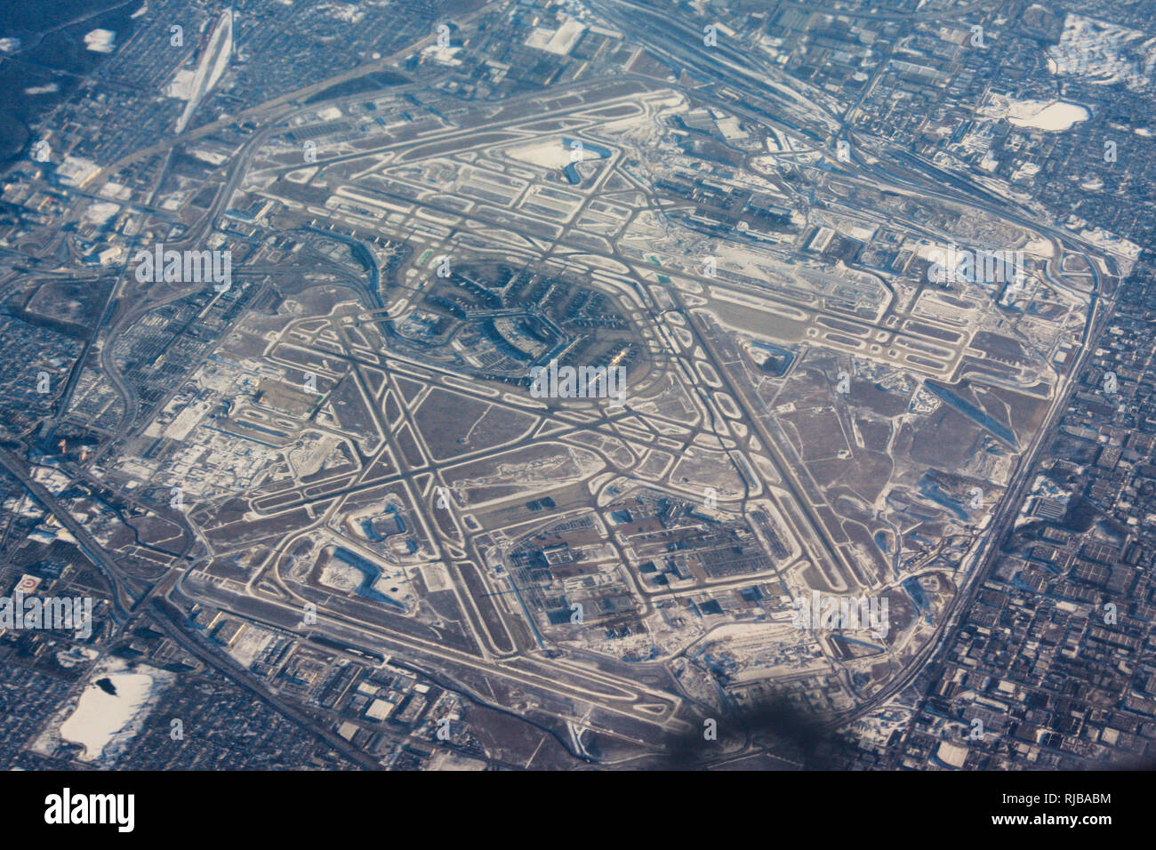 Chicago O'Hare Airport, flight from London Heathrow to Fort Worth Texas - Stock Image