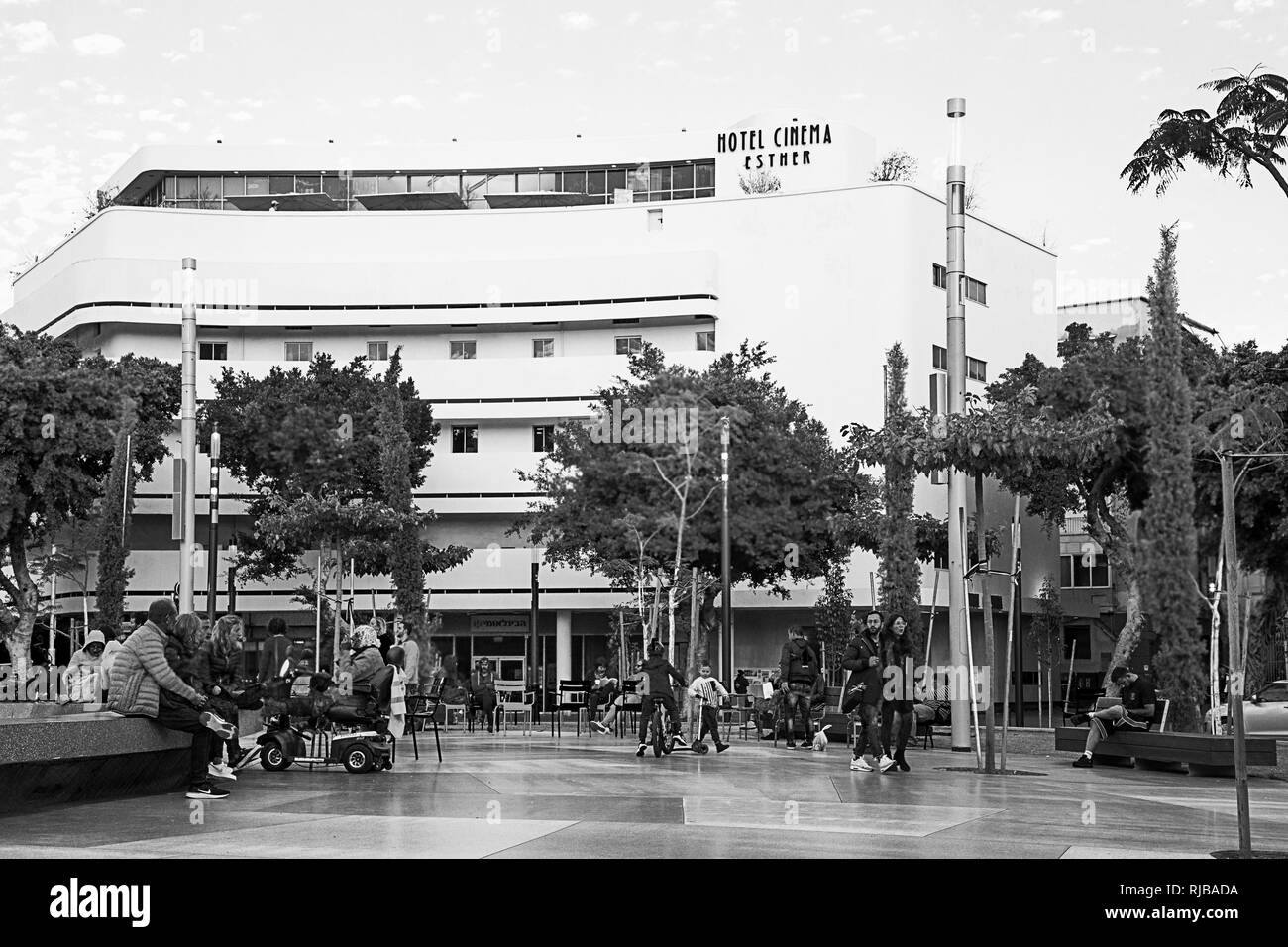 Tel Aviv, Israel-Januare 12, 2019:Renovated Bauhaus Buildings in the Dizengoff Square,Tel Aviv,Israel.Black and White Image - Stock Image