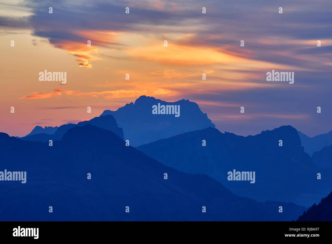 View at sunrise of Monte Civetta from Passo Pordoi, Dolomites, Belluno, Veneto, Italy - Stock Image