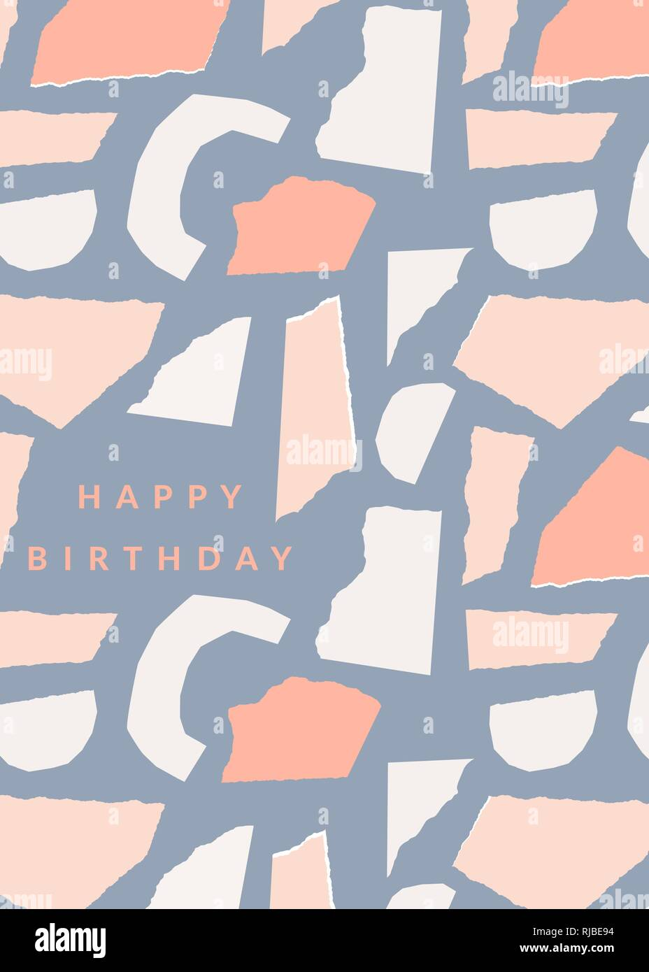 Greeting card template with torn paper pieces in pastel colors and Intended For Birthday Card Collage Template