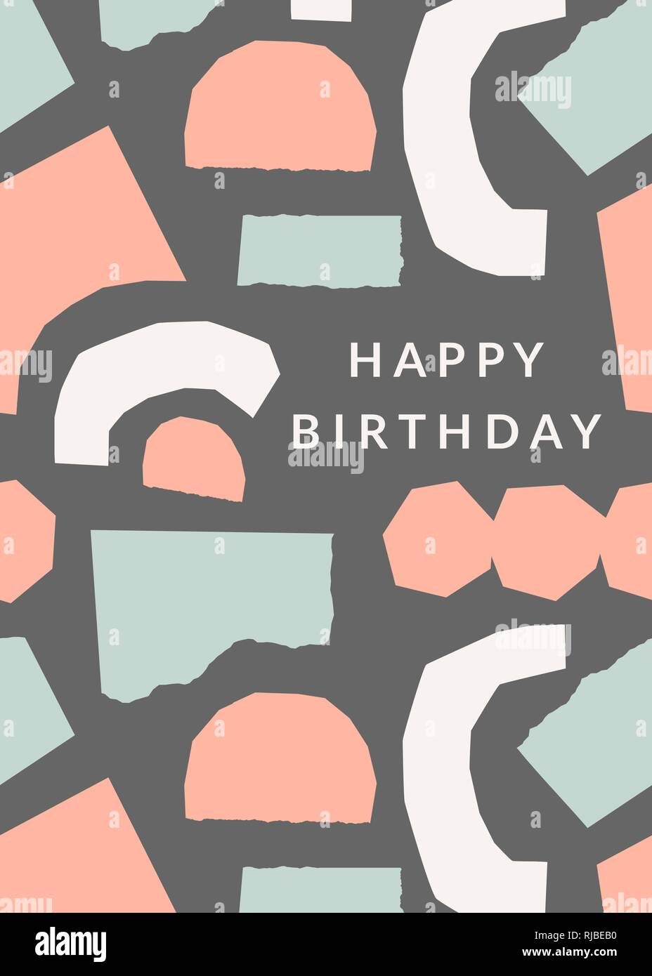Greeting card template with torn paper pieces in pastel colors and With Birthday Card Collage Template