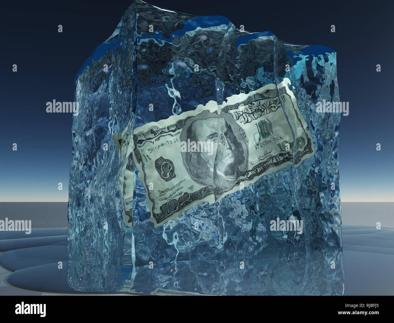 One hundred dollar bill frozen in ice - Stock Image