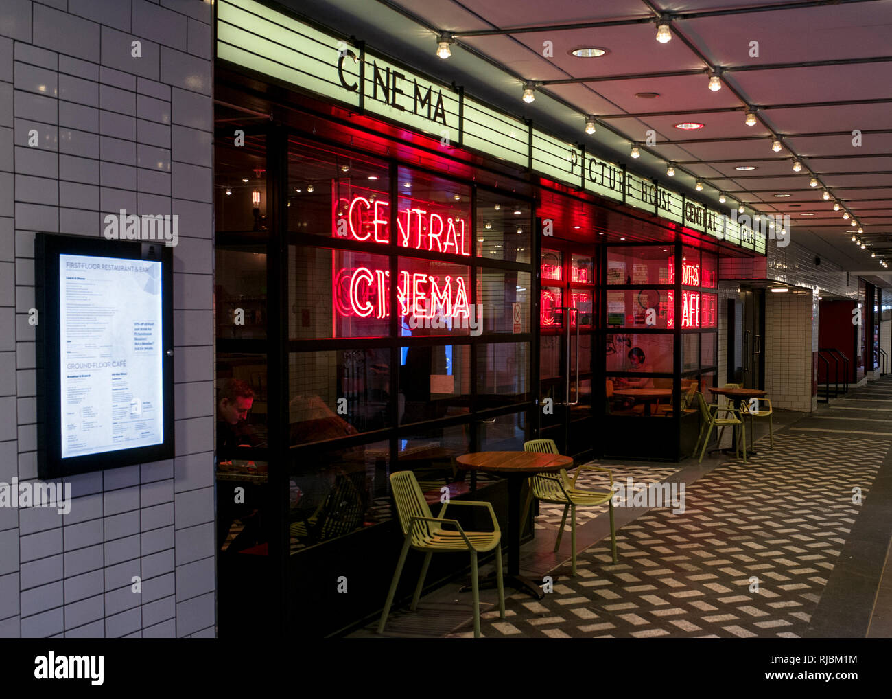 neon signage at the new entrance of the Picture House Central Cinema near Piccadilly Circus in London.Picture house cinema soho. - Stock Image