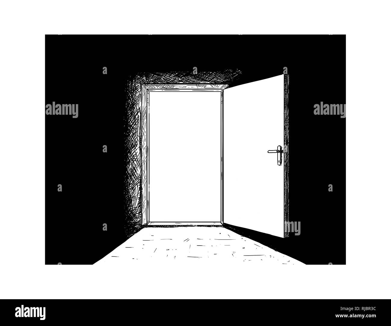 Cartoon of Open Wooden Decision Door and Light Coming From It. Stock Photo
