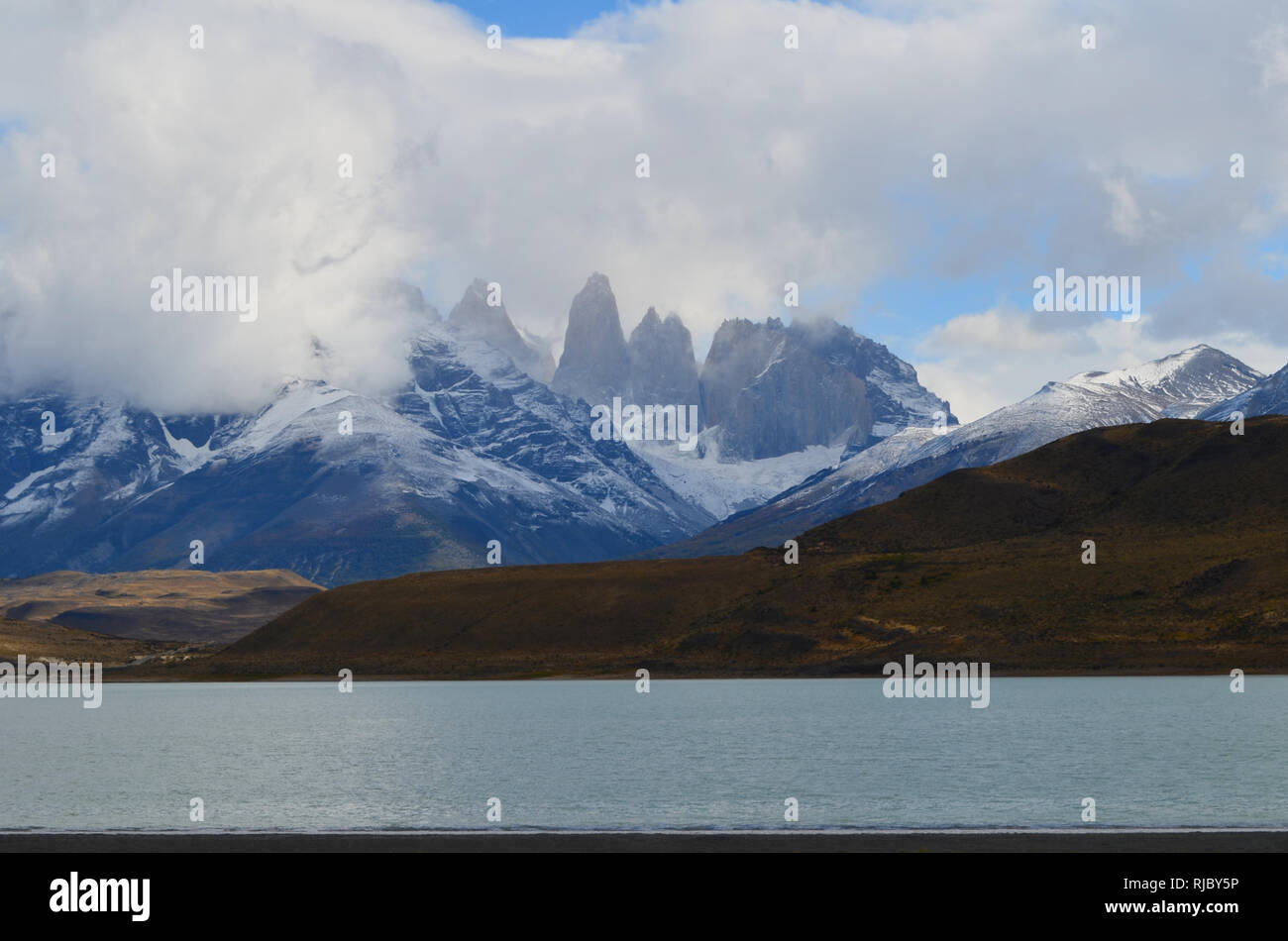 View over the Cuernos del Paine massif in Torres del Paine National Park, Chilean Patagonia - Stock Image