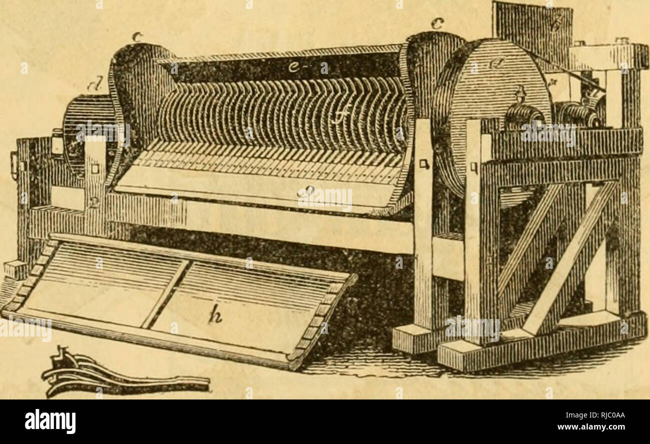 . Charles V. Mapes'. Agricultural machinery. Fig. 267. Saw Mill. Fig. 26Y. This Mill is made strong, with joint-bolts, patent metallic boxes, arge and long shaft, and heavy fly- wheel, and may be used with the sin- gle or double horse-power. A 24-inch saw is used; and with the one-horse power and two men, from ten to fifteen cords of hard wood may be cut twice in two per day, or as much soft wood as can be handled. The same mill, by changing saws, can be used for slitting boards and planks for fencing, etc. Cotton G-in.. Fig. 268. Improved Eagle Cotton Gin. Of these we have every variety, larg - Stock Image