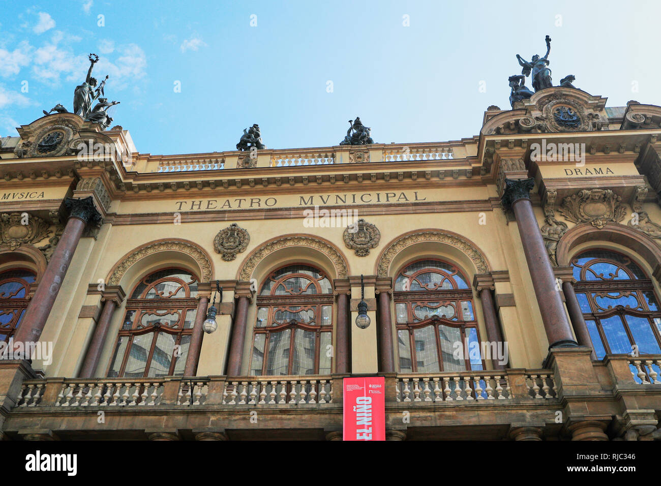Teatro Municipal (Municipal Theater) in the historic downtown of  Sao Paulo. Brazil. South America - Stock Image