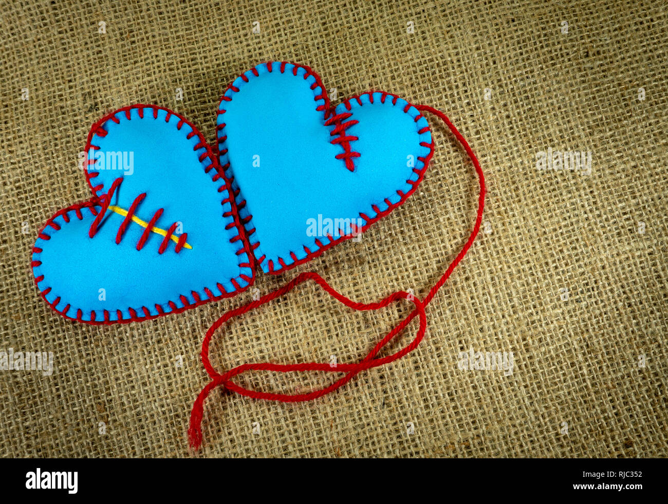Valentine Day template, two handmade blue foam sheet stitched toy