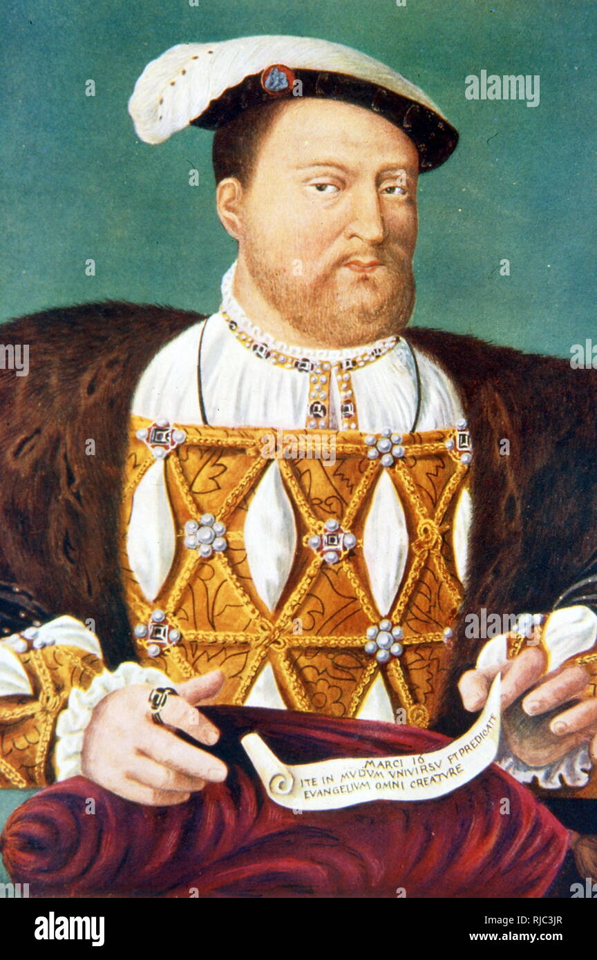King Henry VIII, c.1535. by Joos van Cleve. Henry VIII (28 June 1491 - 28 January 1547) was King of England from 1509 until his death. Henry was the second Tudor monarch, succeeding his father, Henry VII. - Stock Image