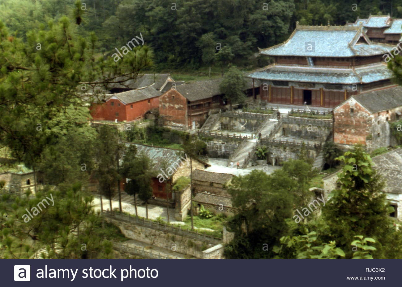 Taoist  temple associated with the god Xuanwuhe; Wudang Mountains, Hubei, China, just south of Shiyan. The Wudang Mountains are renowned for the practice of Tai chi and Taoism - Stock Image
