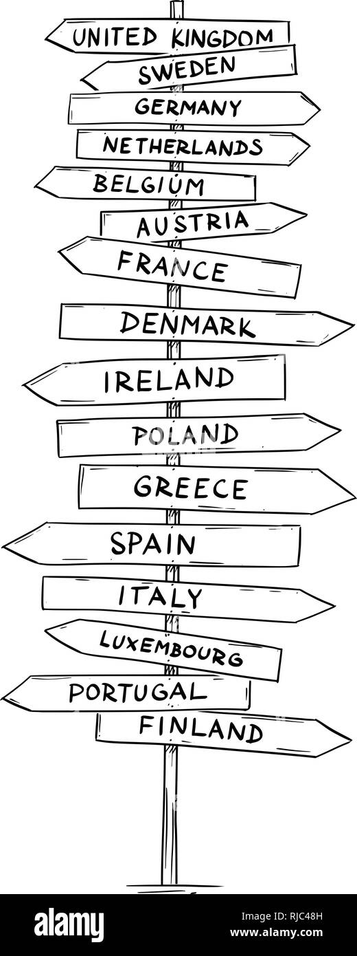 Drawing of Old Road Directional Arrow Sign With Names of Some European Countries - Stock Vector