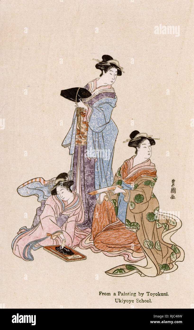 Three Japanese women - painting by Utagawa Toyokuni (1769-1825) also often referred to as Toyokuni I, to distinguish him from the members of his school who took over his go (art-name) after he died, was a great master of ukiyo-e, known in particular for his kabuki actor prints. - Stock Image