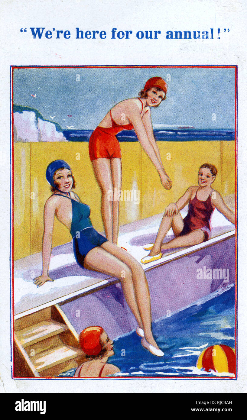 We're Here For Our Annual (Holiday) - smart young folk playing on the edge of the lido pool - Stock Image