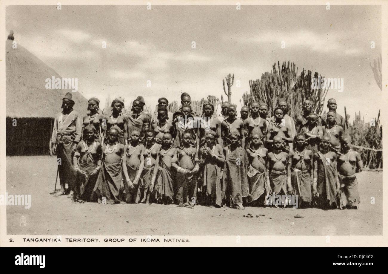 Tanganyika (Tanzania) - East Africa - Group of Ikoma People - an ethnic and linguistic group based in Mara Region in northern Tanzania. Stock Photo