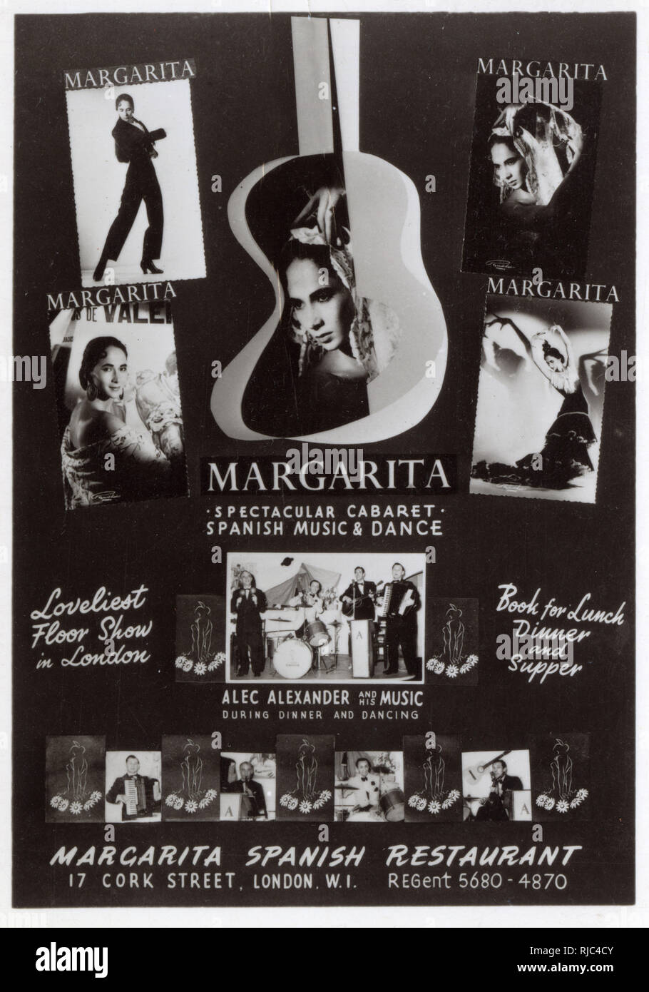 Promotional postcard for the Margarita Spanish Restaurant, 17 Cork Street, London. - Spectacular Cabaret - Spanish Music and Dance featuring Alec Alexander and his music (during Dinner and Dancing). Stock Photo