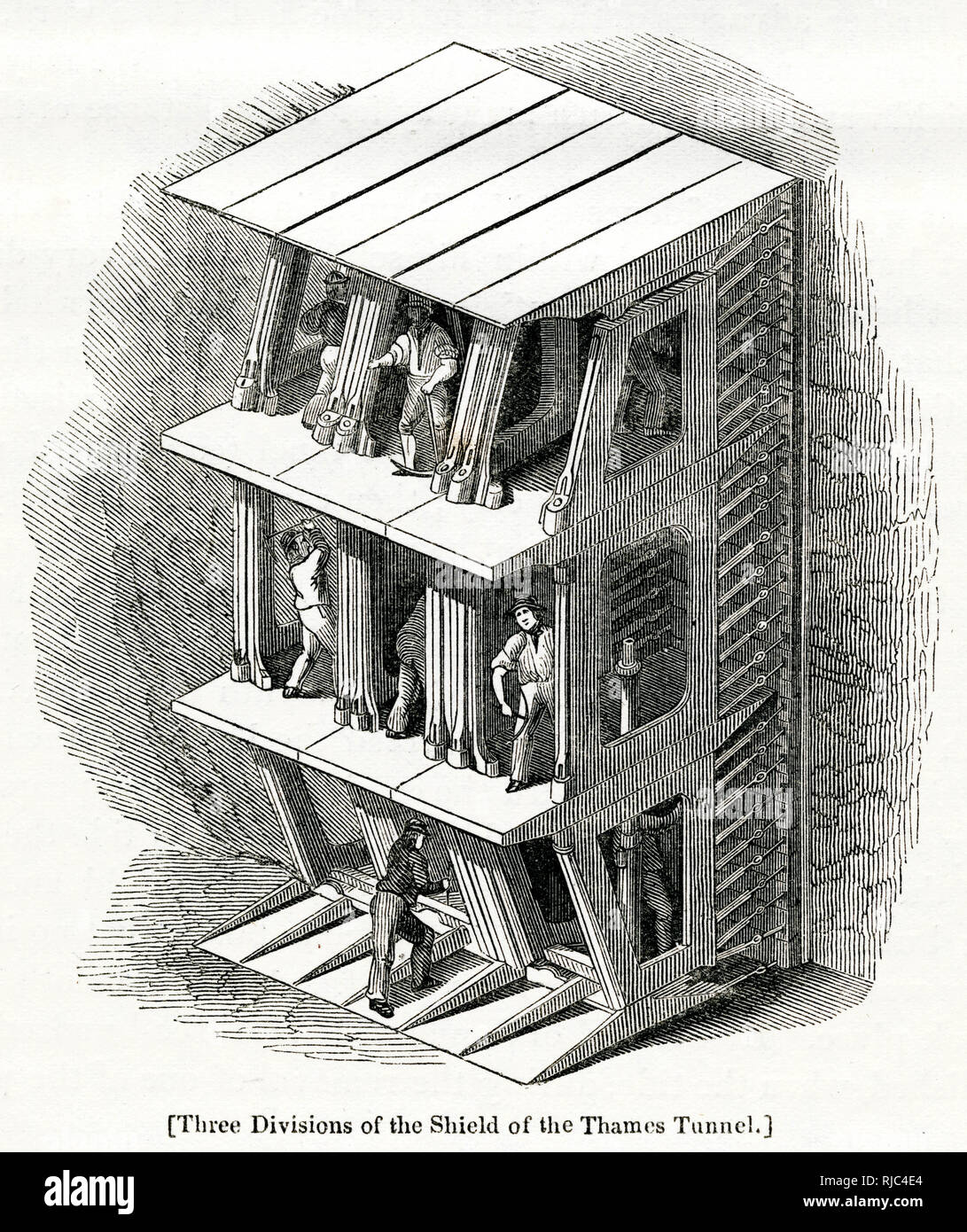 Section of the three divisions of the shield of the Thames Tunnel in 1825, using Marc Isambard Brunel's and Thomas Cochrane's newly invented tunnelling shield technology. Stock Photo