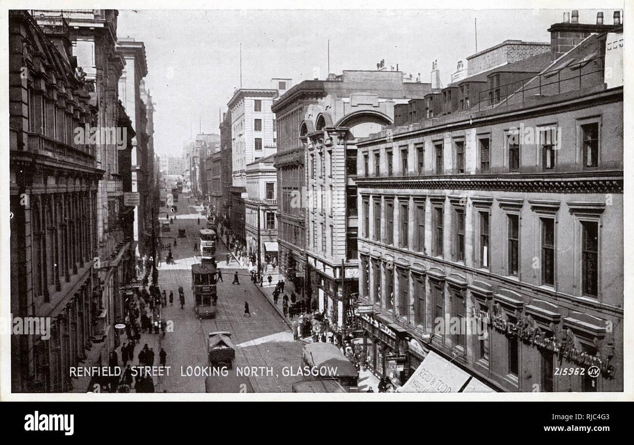 Glasgow, Scotland - Renfield Street, looking north - Stock Image