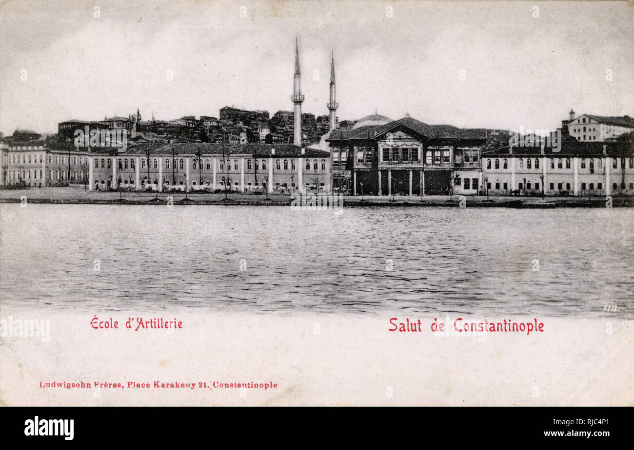 Imperial artillery and engineering schools, Tophane, Istanbul, Ottoman Empire - View from Bosphorus. Stock Photo