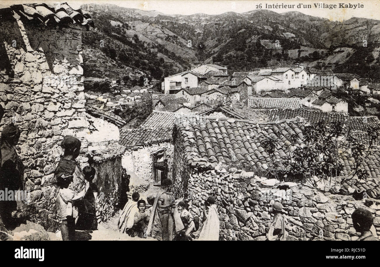 Kabyle Village - Northern Algeria - The Kabyle people are Berbers from North Eastern Algeria - estimated population today of 5 million individuals. - Stock Image