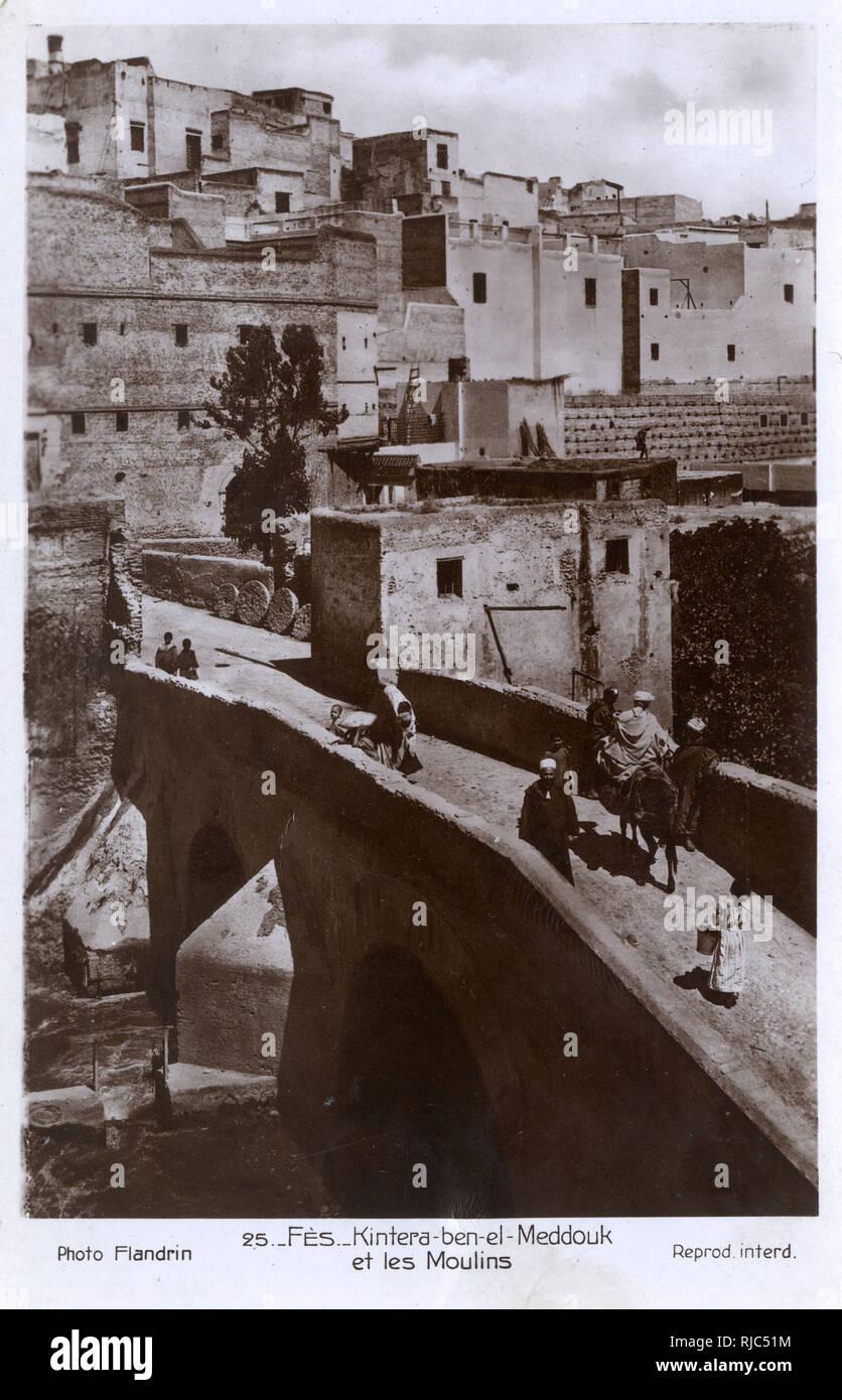 Medina, Fes, Morocco - Kintera-ben-el-Meddouk Bridge and the Mills. - Stock Image