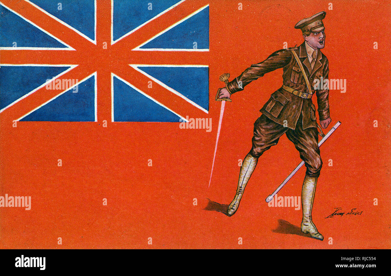 WW1 - Uniform of the Allies series - British Officer barking out a command to his troops set against a backdrop of (a slightly stylised version of) the red ensign flag. - Stock Image