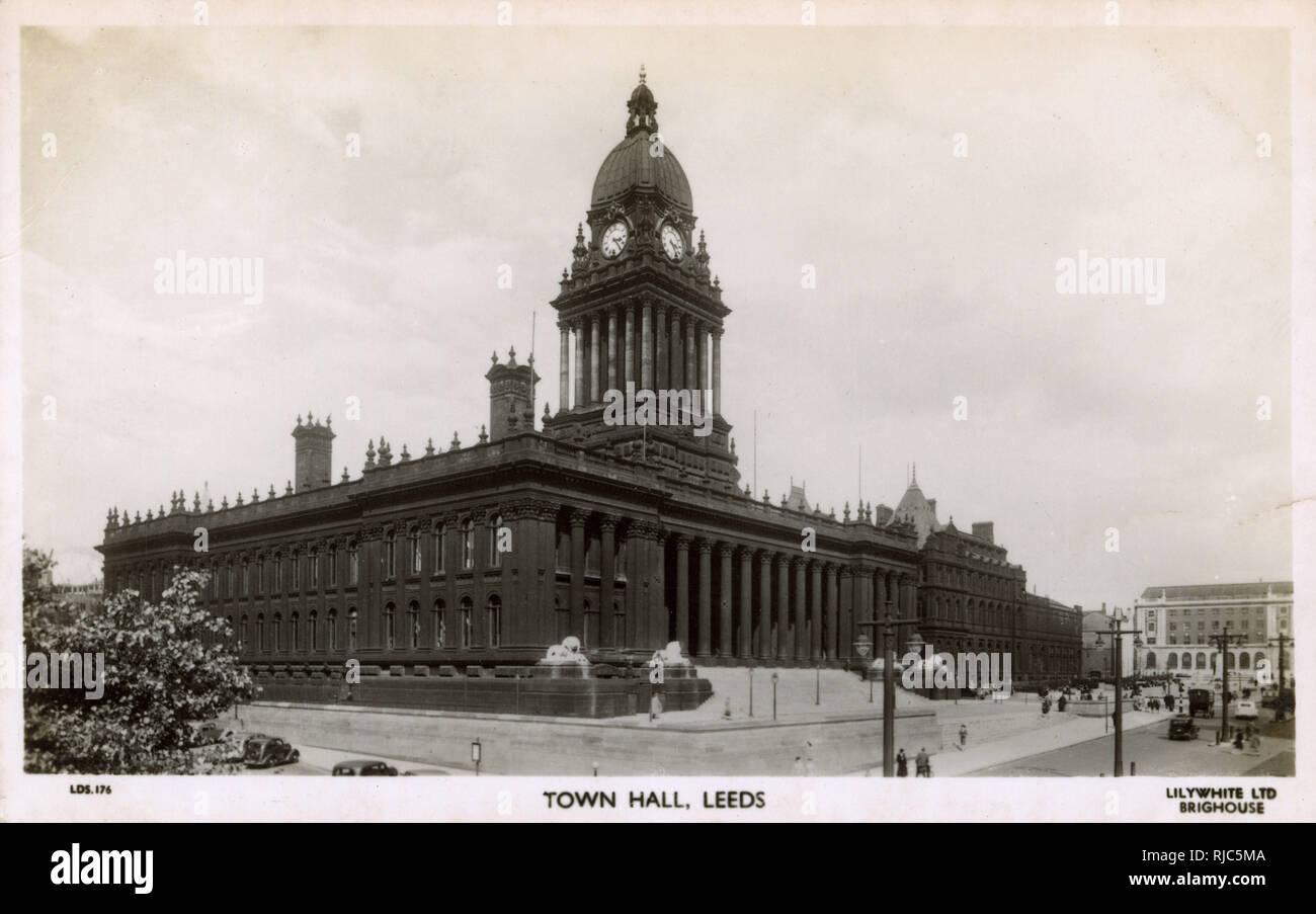 Leeds Town Hall, Leeds, West Yorkshire. - Stock Image