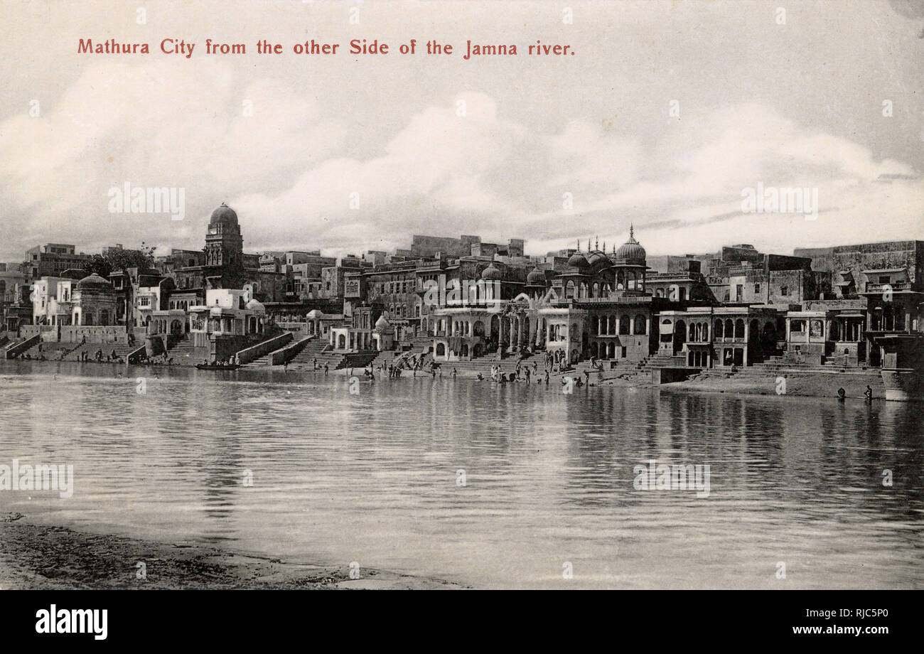 Mathura City, Uttar Pradesh, India - viewed from other side of Jamna River. - Stock Image