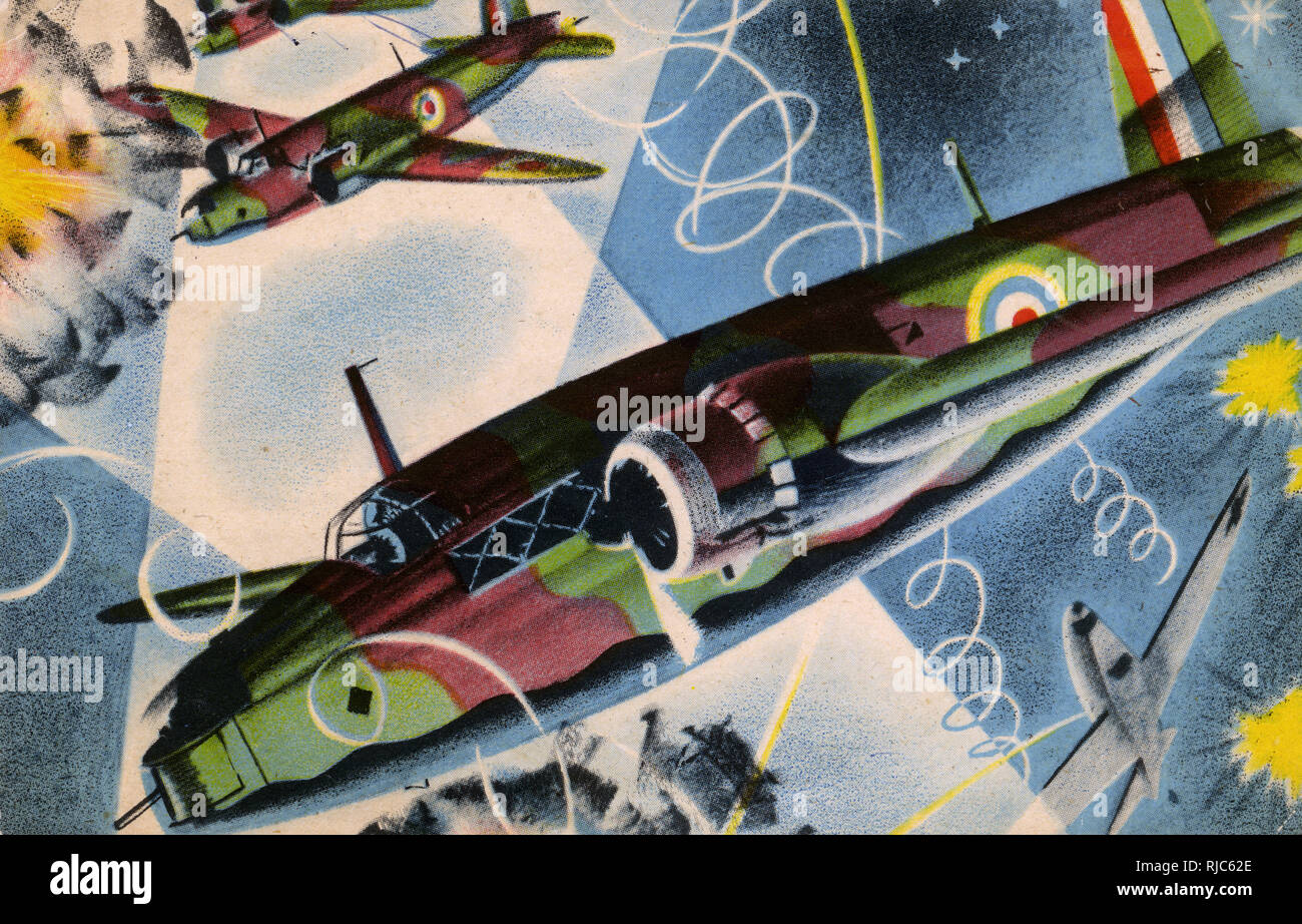 WW2 - RAF Bombing raid over Germany - stylised image of a party of Vickers Wellingtons. - Stock Image