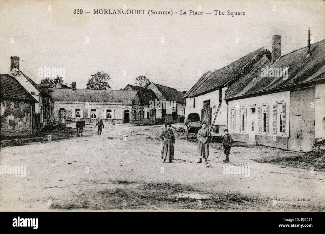 Morlancourt in the Somme department in Hauts-de-France in northern France - The Main Square. - Stock Image