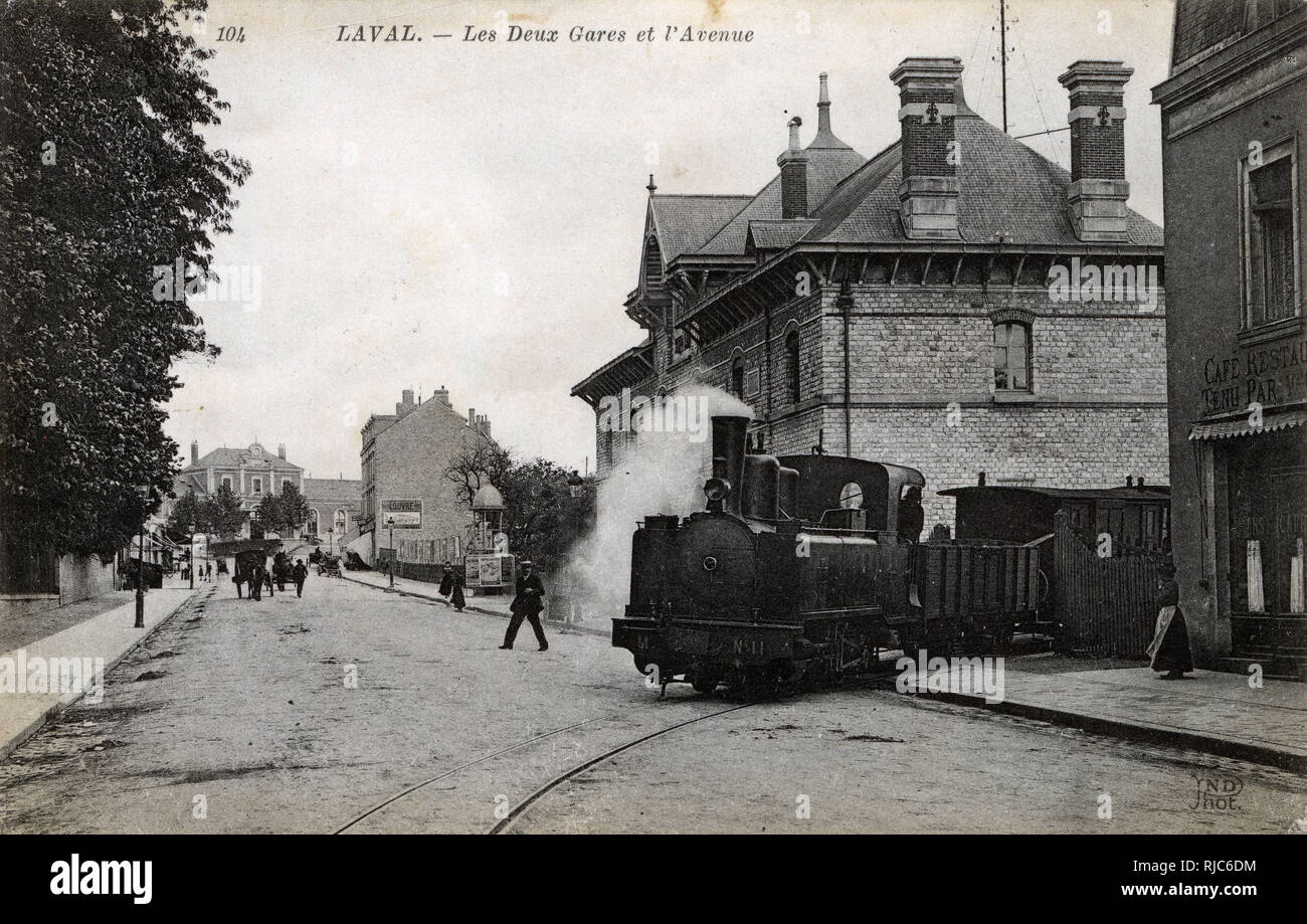 Laval, France - The Two Railway Stations and the Avenue. Stock Photo