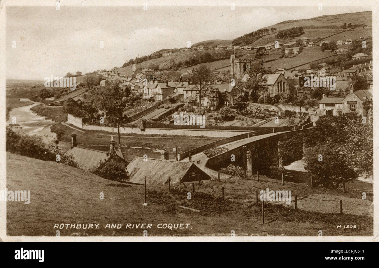 A view of Rothbury and River Coquet. Stock Photo
