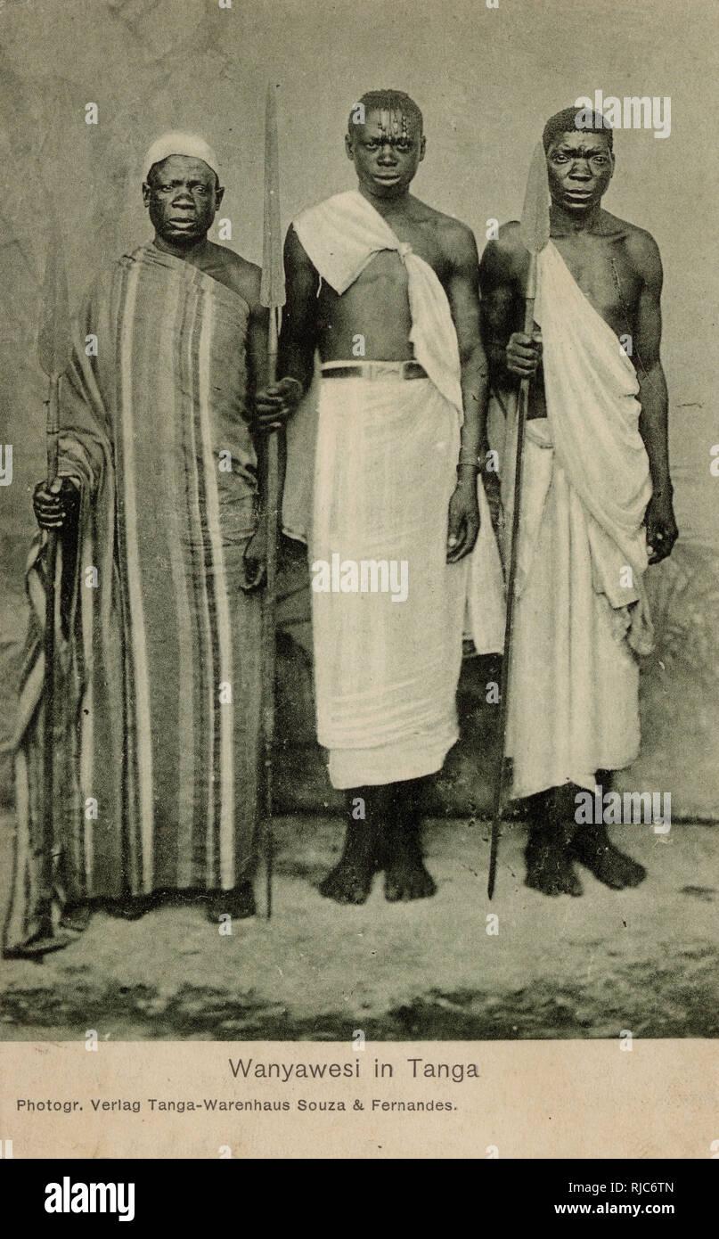 Tanzania - Three Nyamwezi Men - a Bantu tribal group - the 2nd largest in Tanzania. Stock Photo